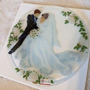 PEGGY KARR GLASS Bride & Groom Plate